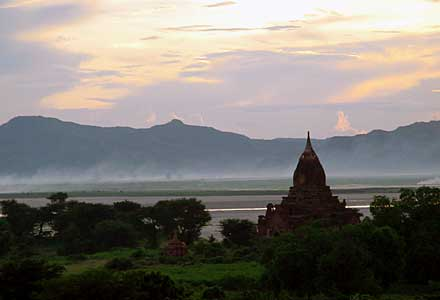 Sunset from the temple in Bagan
