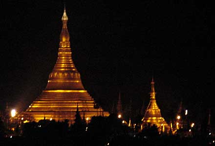 The famous Shwedagon Pagoda by night